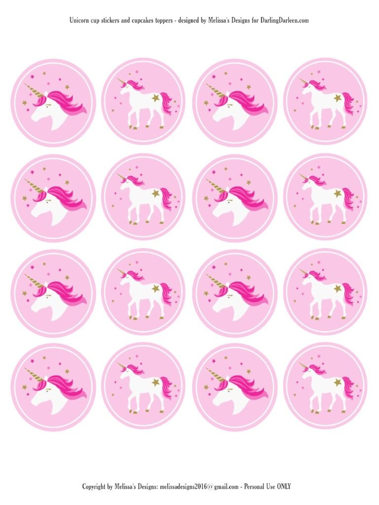 Unicorn Stickers & Cupcake Toppers | Party: Unicorn | Unicorn Cups - Free Printable Unicorn Cupcake Toppers