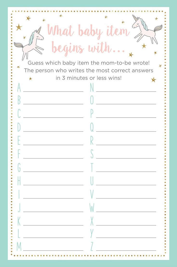 Unicorn Themed Baby Shower Games + Printables - Find The Guest Baby Shower Game Free Printable