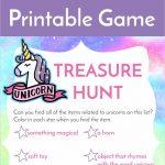 Unicorn Treasure Hunt Game Free Printable | Birthday Party   Unicorn Name Free Printable
