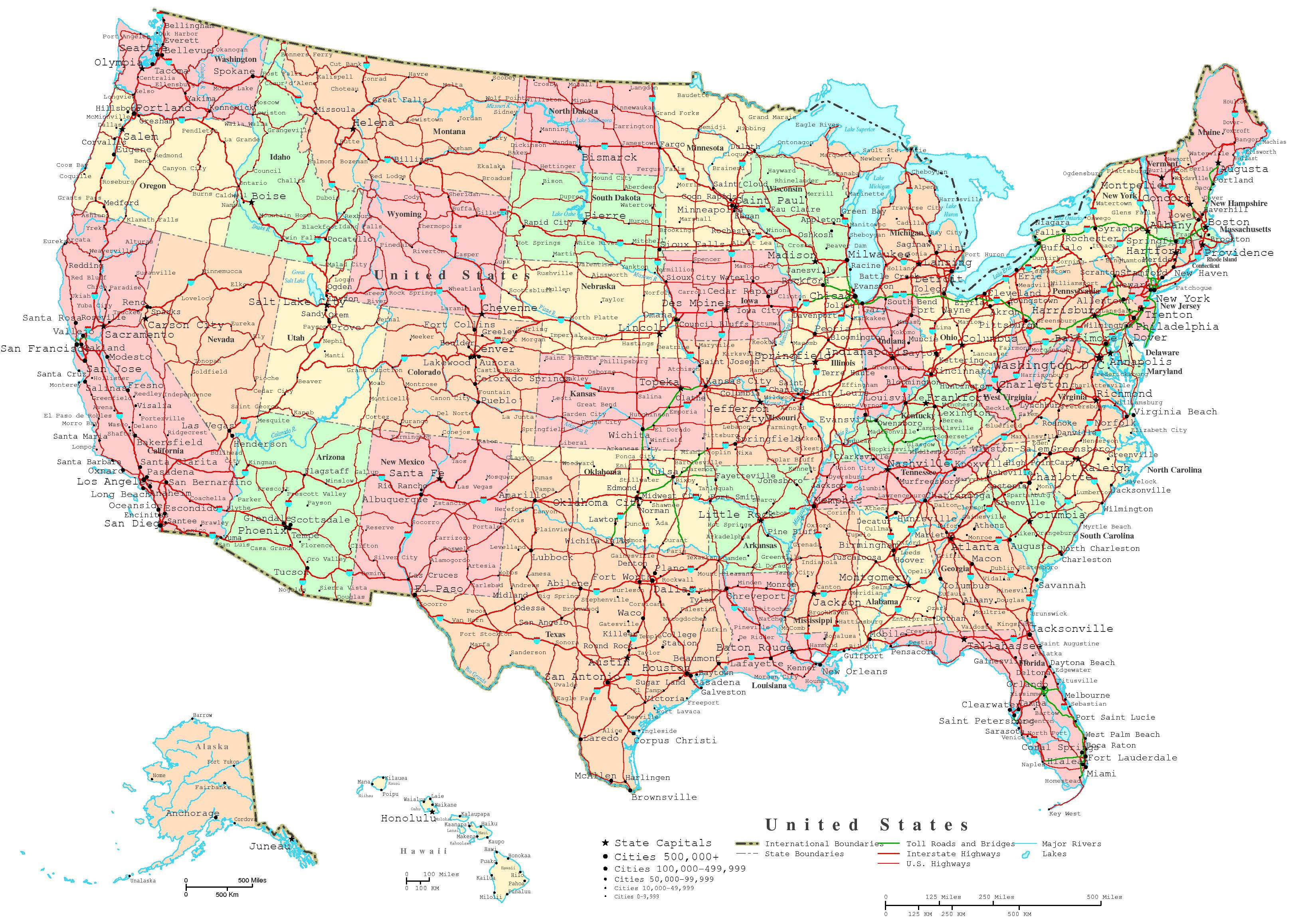 United States Printable Map - Free Printable Map Of United States With States Labeled