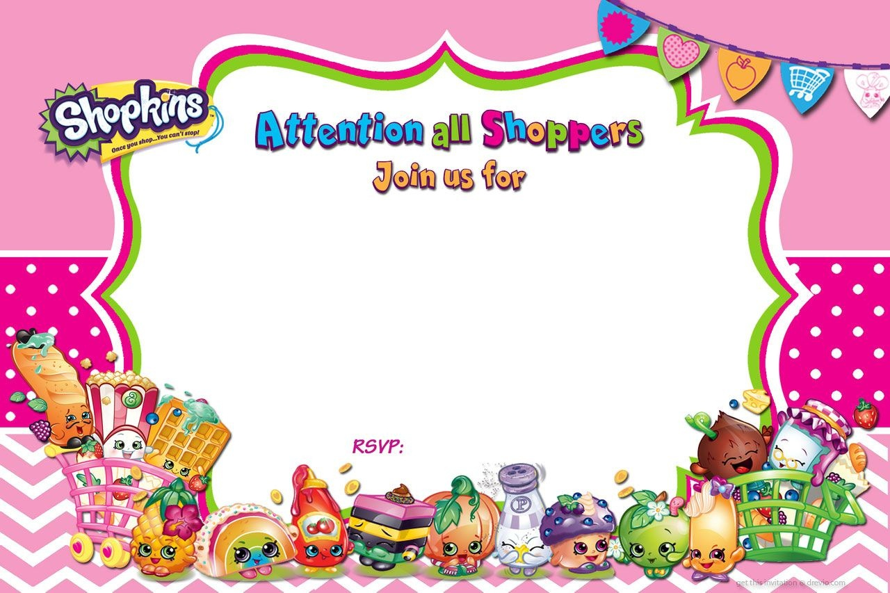 Updated - Free Printable Shopkins Birthday Invitation | Free - Shopkins Thank You Cards Free Printable