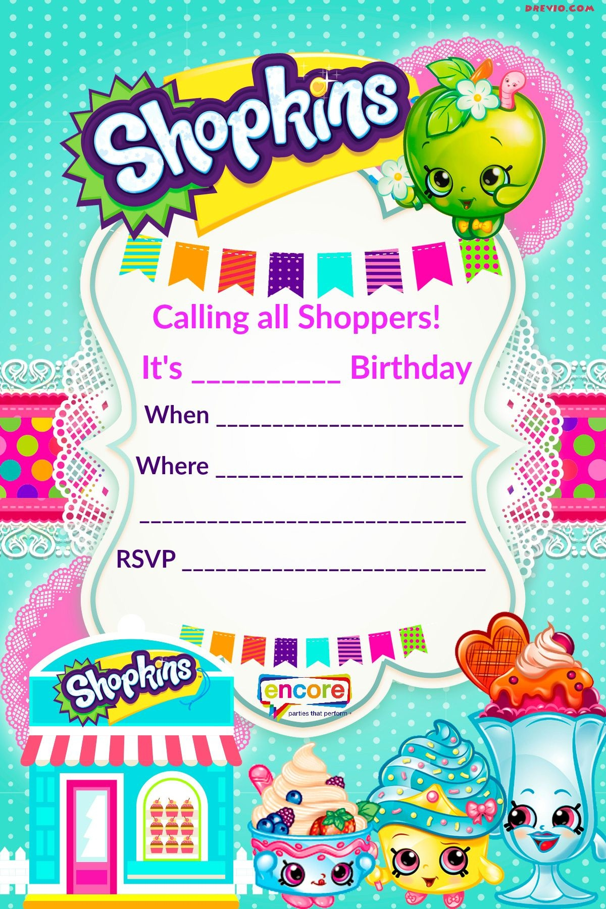 Updated - Free Printable Shopkins Birthday Invitation Template - Free Shopkins Party Printables