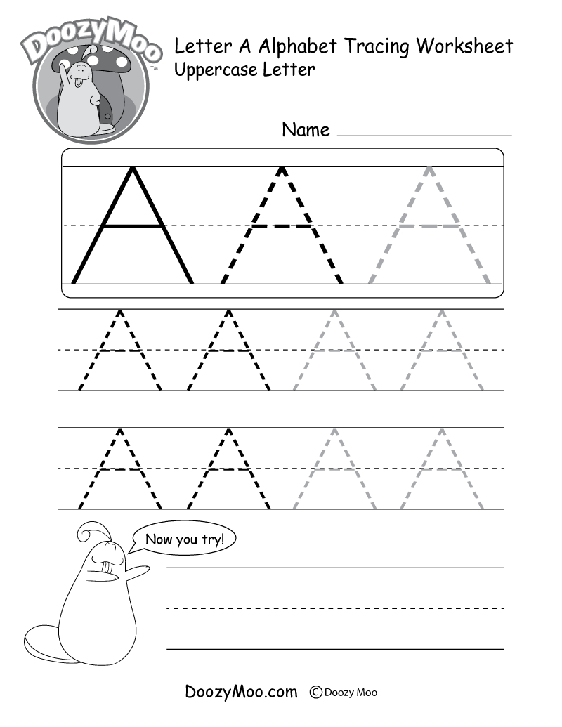 Uppercase Letter Tracing Worksheets (Free Printables) - Doozy Moo - Free Name Printables