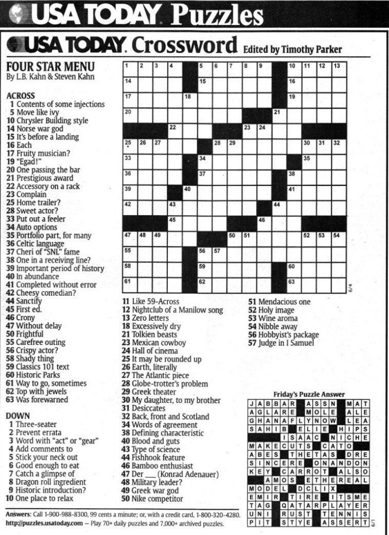 Usa Today Printable Crossword   Freepsychiclovereadings In Usa Today - Usa Today Crossword Puzzles Printable Free