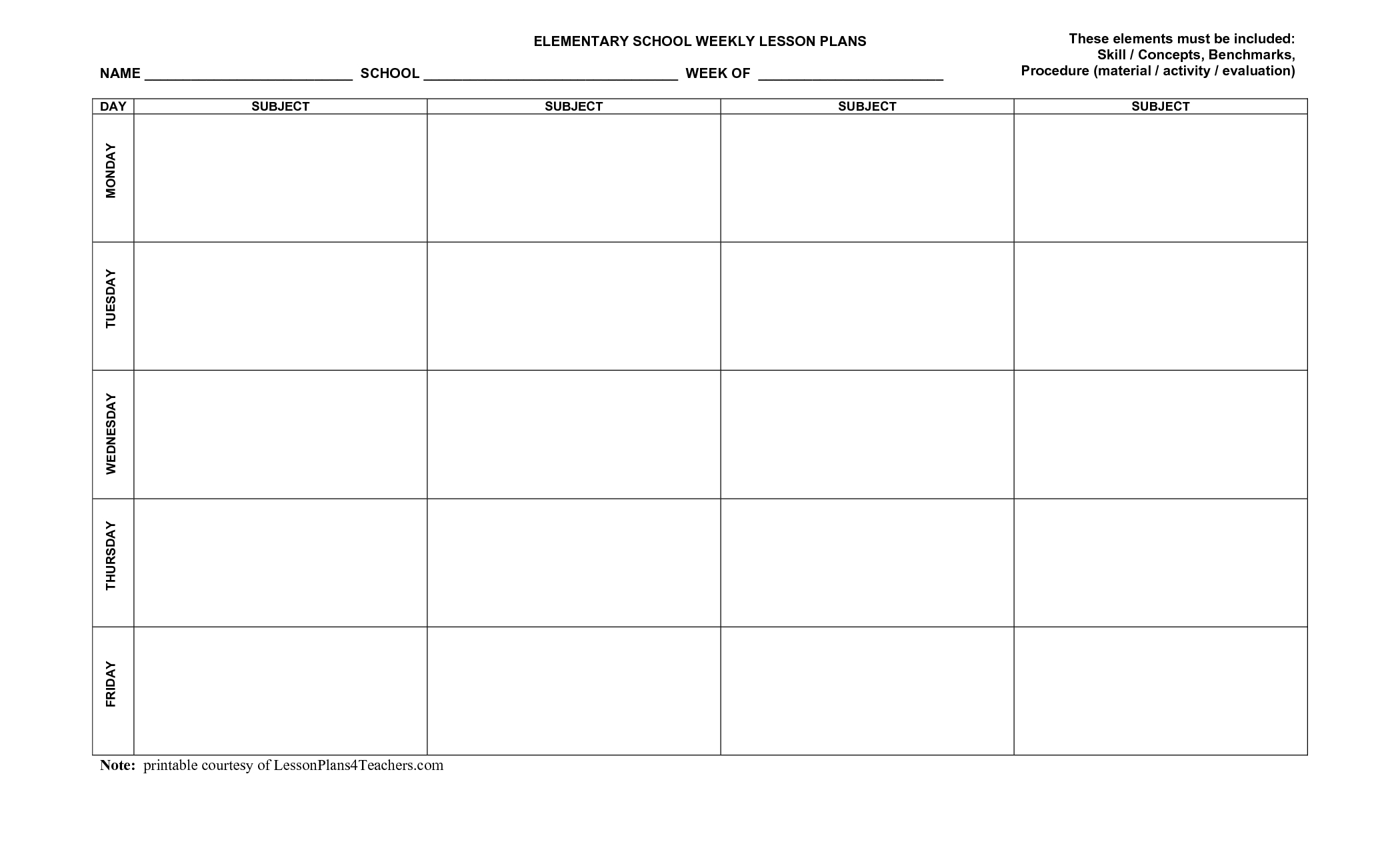Use This Blank 8-Part Lesson Plan Template Every Time That You Need - Free Printable Lesson Plan Template Blank