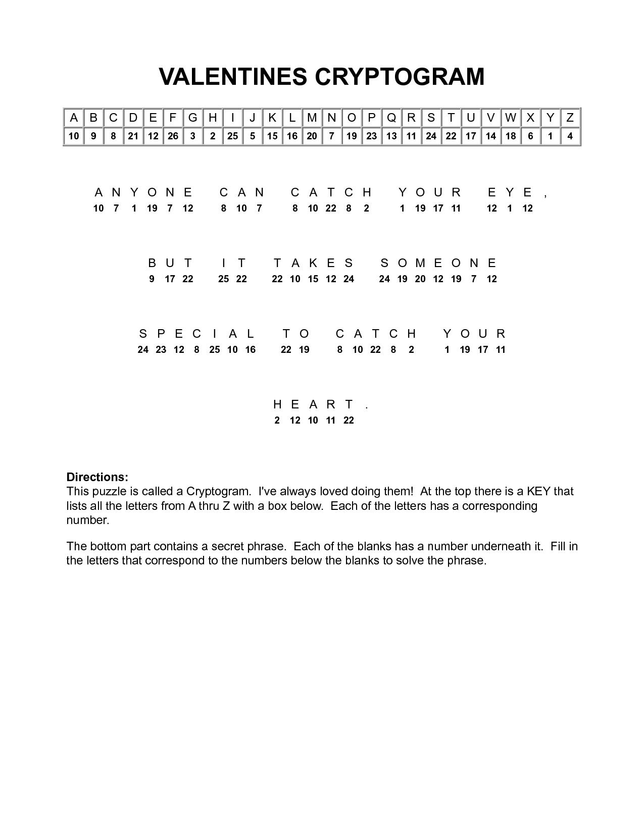 Valentine Cryptograms To Print | Valentines Cryptogram | Puzzles - Free Printable Cryptograms Pdf