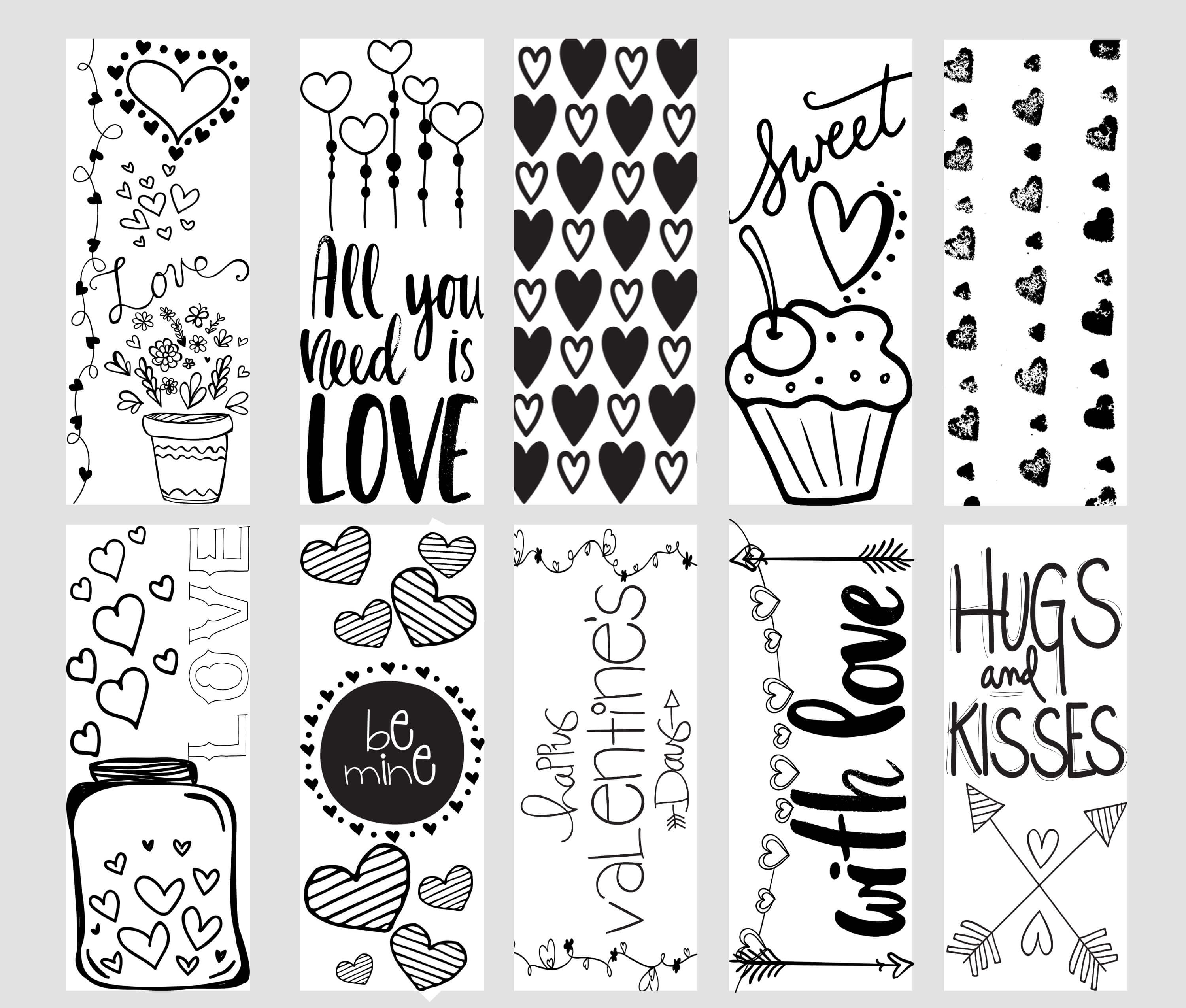 Valentine Printable Coloring Page Bookmarks - Kleinworth & Co - Free Printable Bookmarks To Color