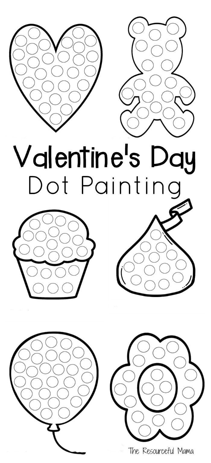 Valentine's Day Dot Painting | The Resourceful Mama | Valentines Day - Do A Dot Art Pages Free Printable