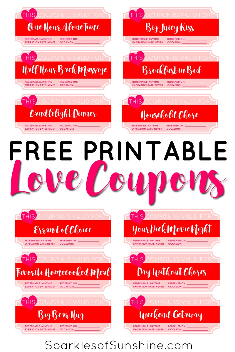 Valentine's Day Free Printable Love Coupons - Sparkles Of Sunshine - Free Printable Valentines Day Coupons For Boyfriend