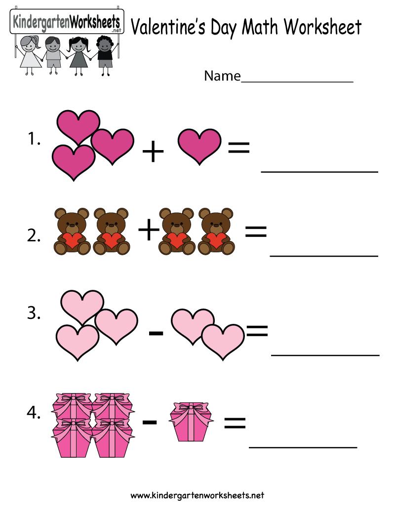 Valentine's Day Math Worksheet - Free Kindergarten Holiday Worksheet - Free Printable Valentine Activities For Kindergarten