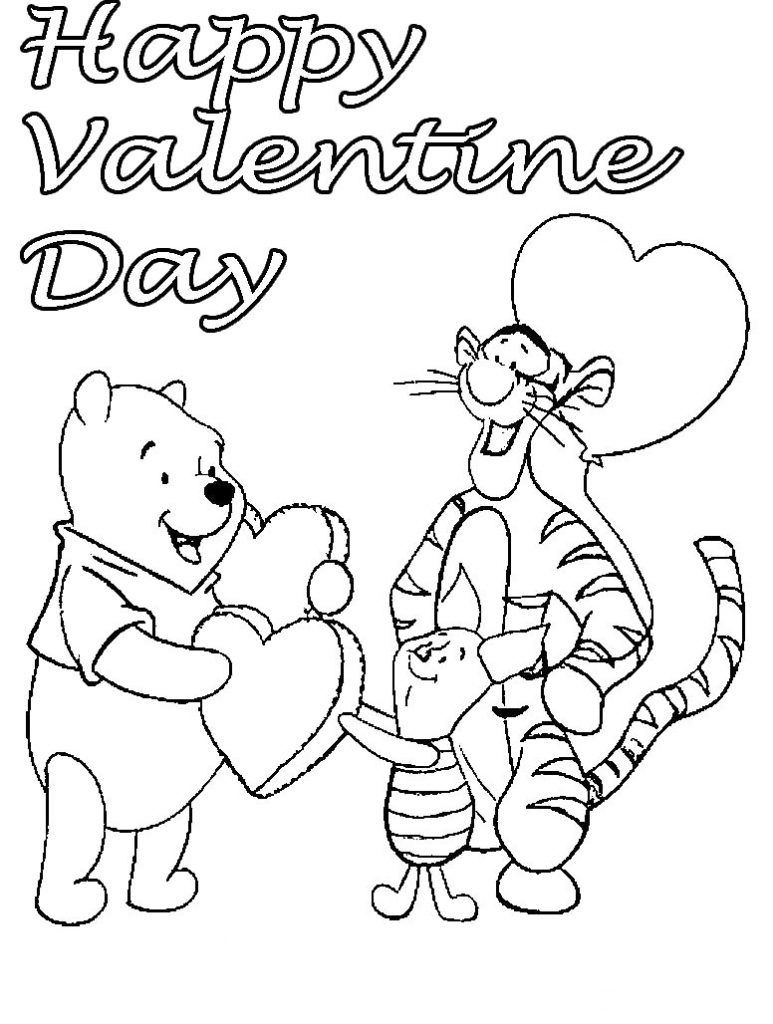Valentines Disney Coloring Pages | Holiday Coloring Pages - Free Printable Disney Valentine Coloring Pages