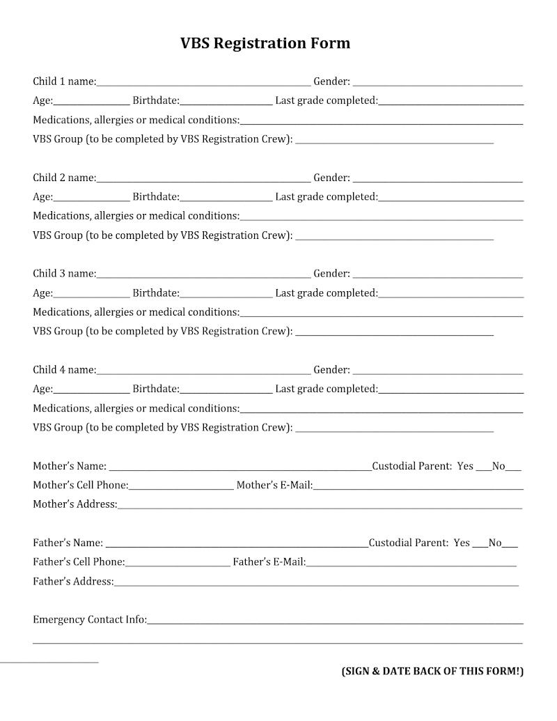 Vbs Registration Form Template.docx - Google Drive | 2018 Vbs Game - Free Printable Vbs Registration Forms