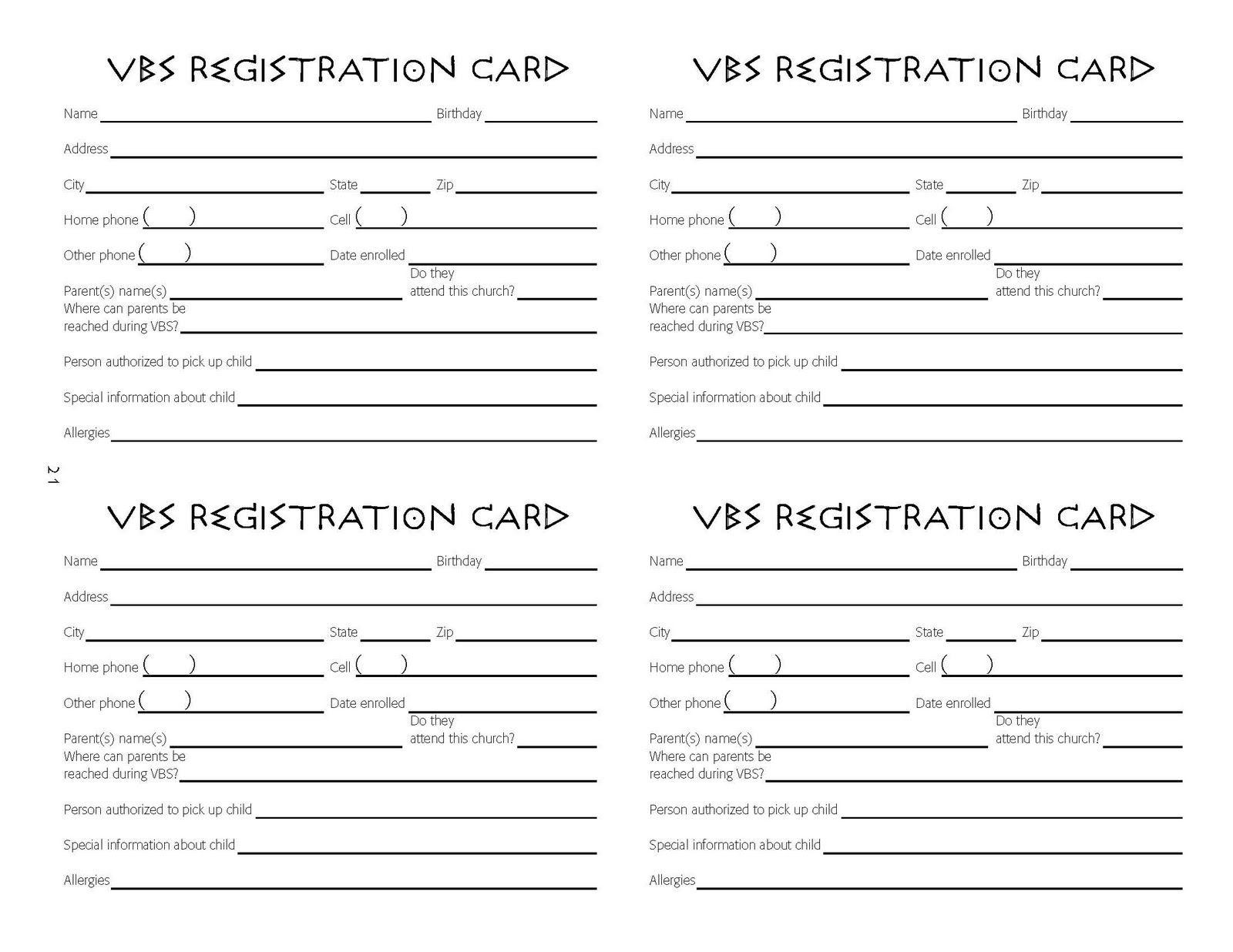 Vbs Tips: Vbs Registration Ideas | Vbs Registratiion | Vacation - Free Printable Vbs Registration Forms