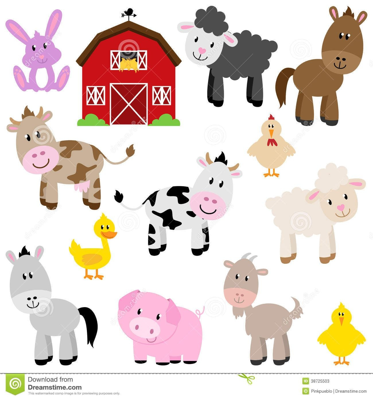 Vector Collection Of Cute Cartoon Farm Animals - Download From Over - Free Printable Farm Animal Clipart