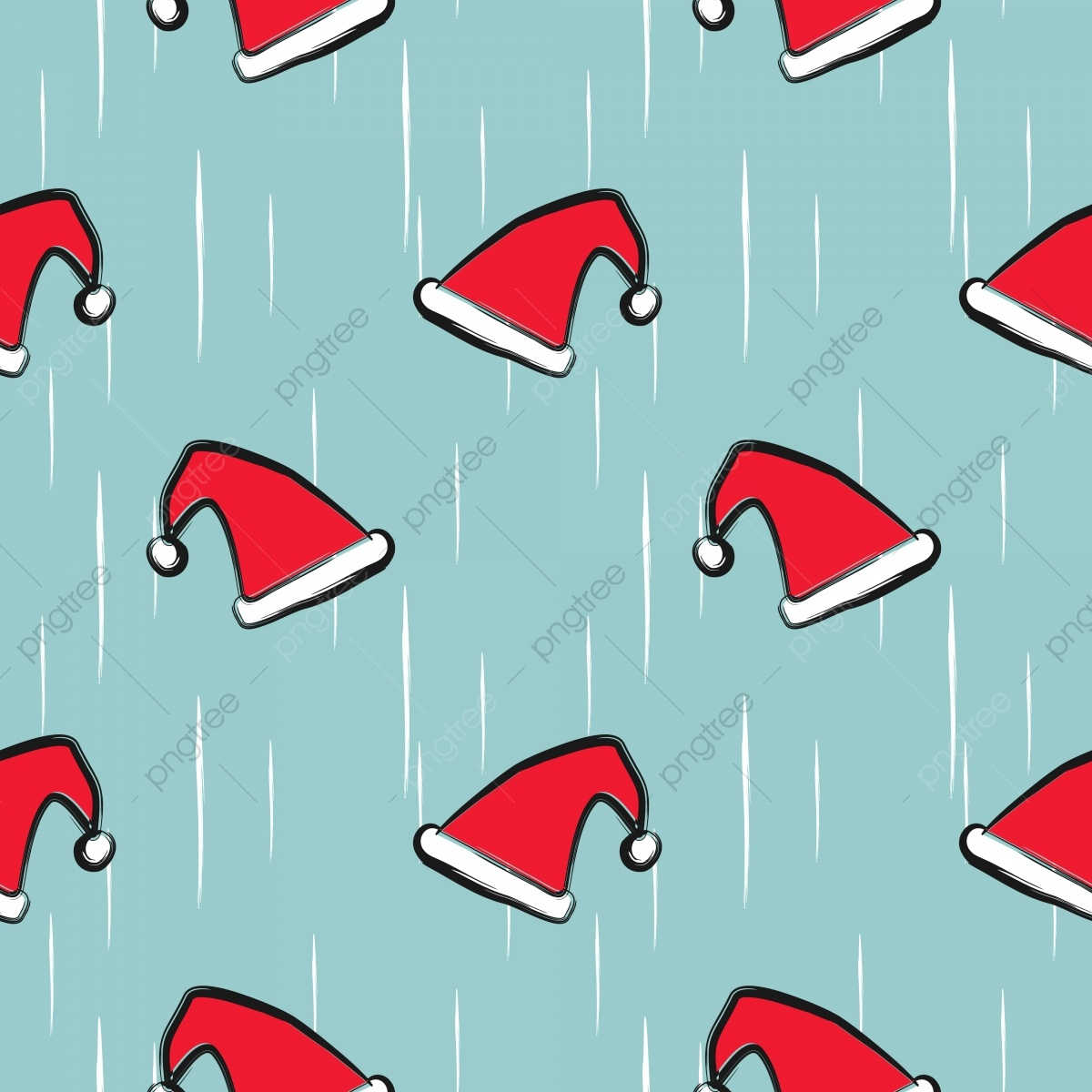 Vector Santa Hat Seamless Pattern For Winter Christmas Holiday Theme - Free Printable Santa Hat Patterns