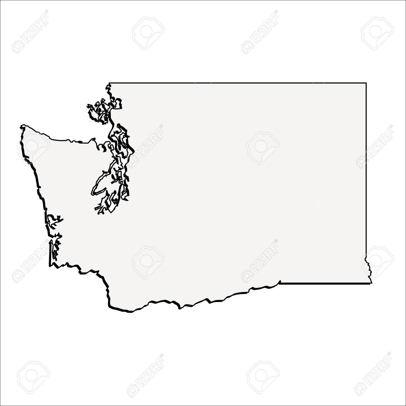Vector Washington State 3D Outline Map Royalty Free Cliparts - Free Printable Map Of Washington State