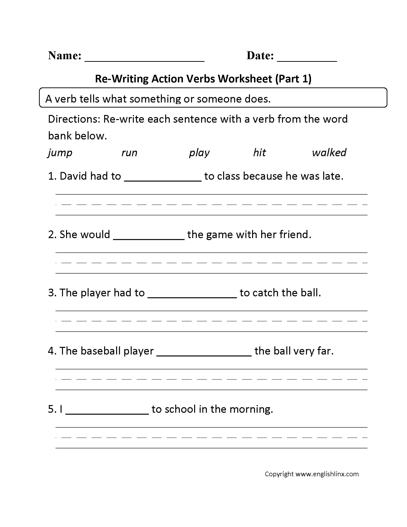 Verbs Worksheets | Action Verbs Worksheets - Free Printable Verb Worksheets