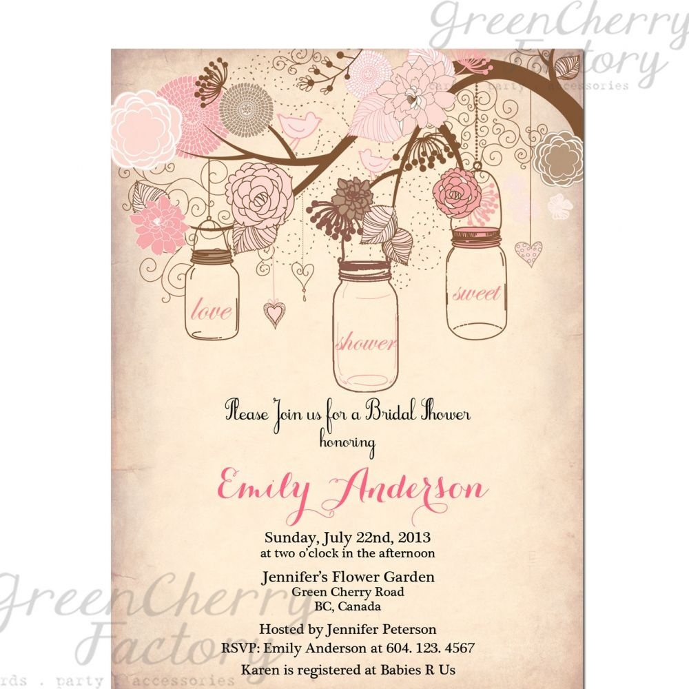 Vintage Bridal Shower Invitation Templates Free | Projects To Try - Free Mason Jar Wedding Invitation Printable Templates