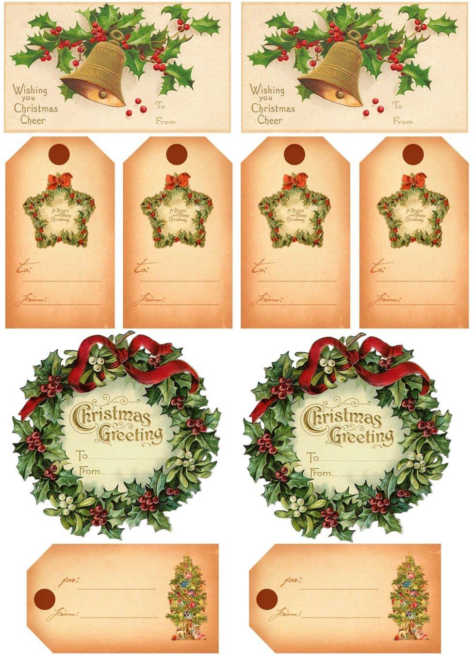 Vintage Christmas Gift Tags | Vintage Printables | Christmas Gift - Free Printable Vintage Christmas Clip Art