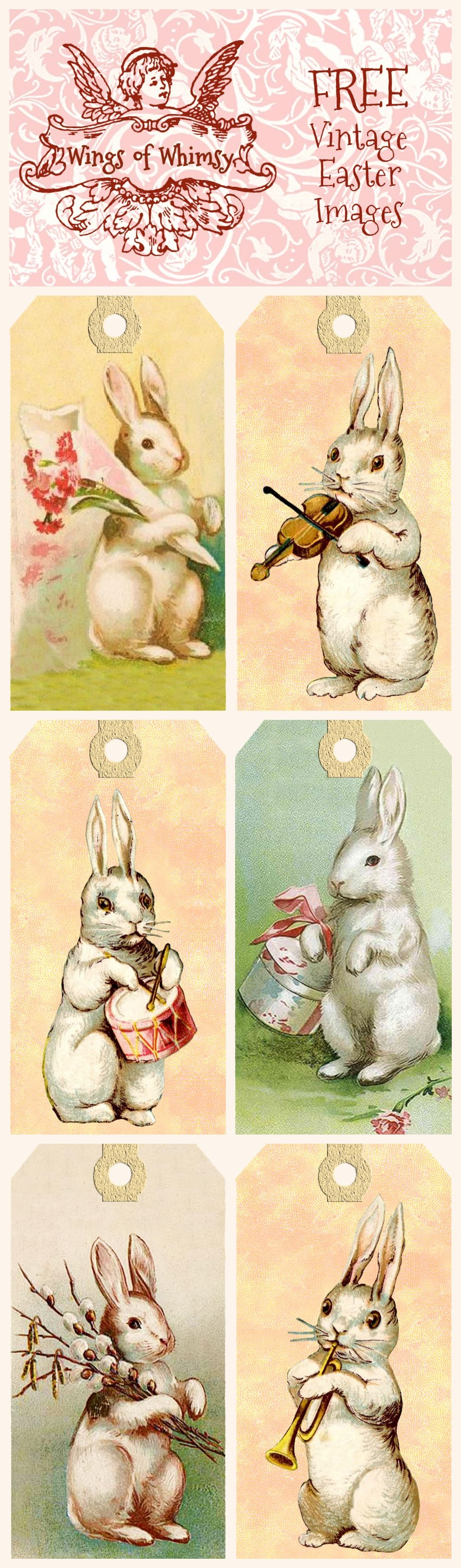 Vintage Easter Bunny Tags – Free Printables   Easter   Easter Crafts - Free Printable Vintage Easter Images