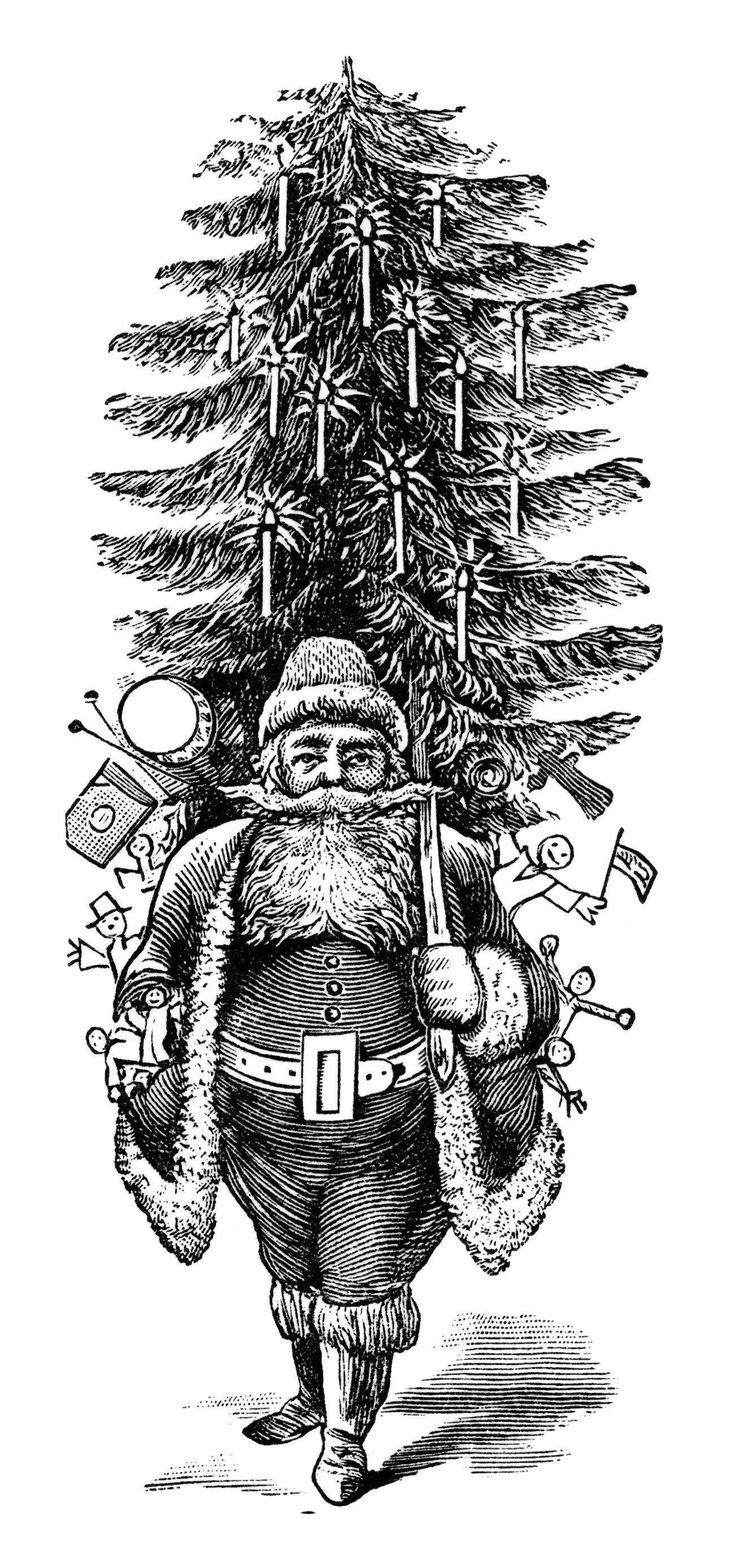 Vintage Santa Clipart, Vintage Printable Christmas, Free Black And - Free Printable Vintage Christmas Clip Art