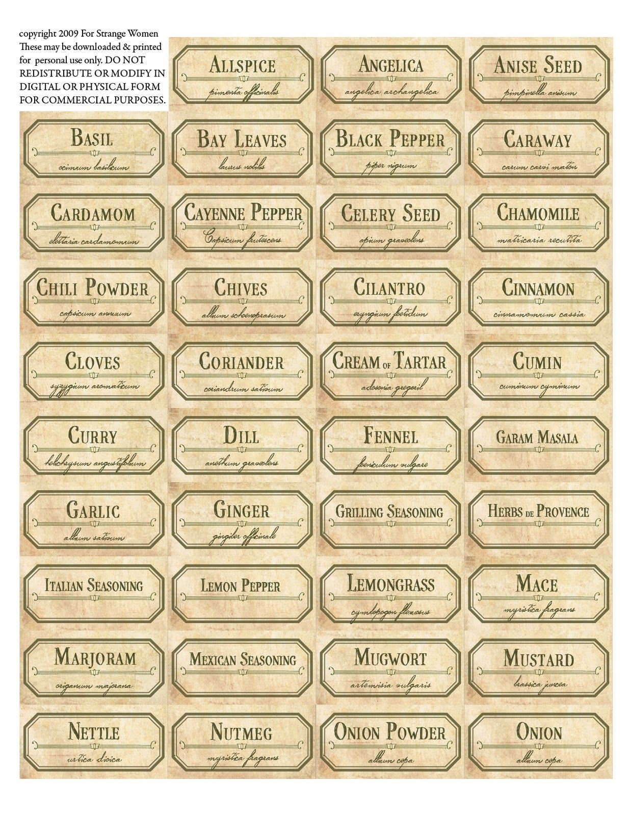 Vintage Spice Jar Labels. Free Printable Label Templates.   Spice - Free Printable Herb Labels