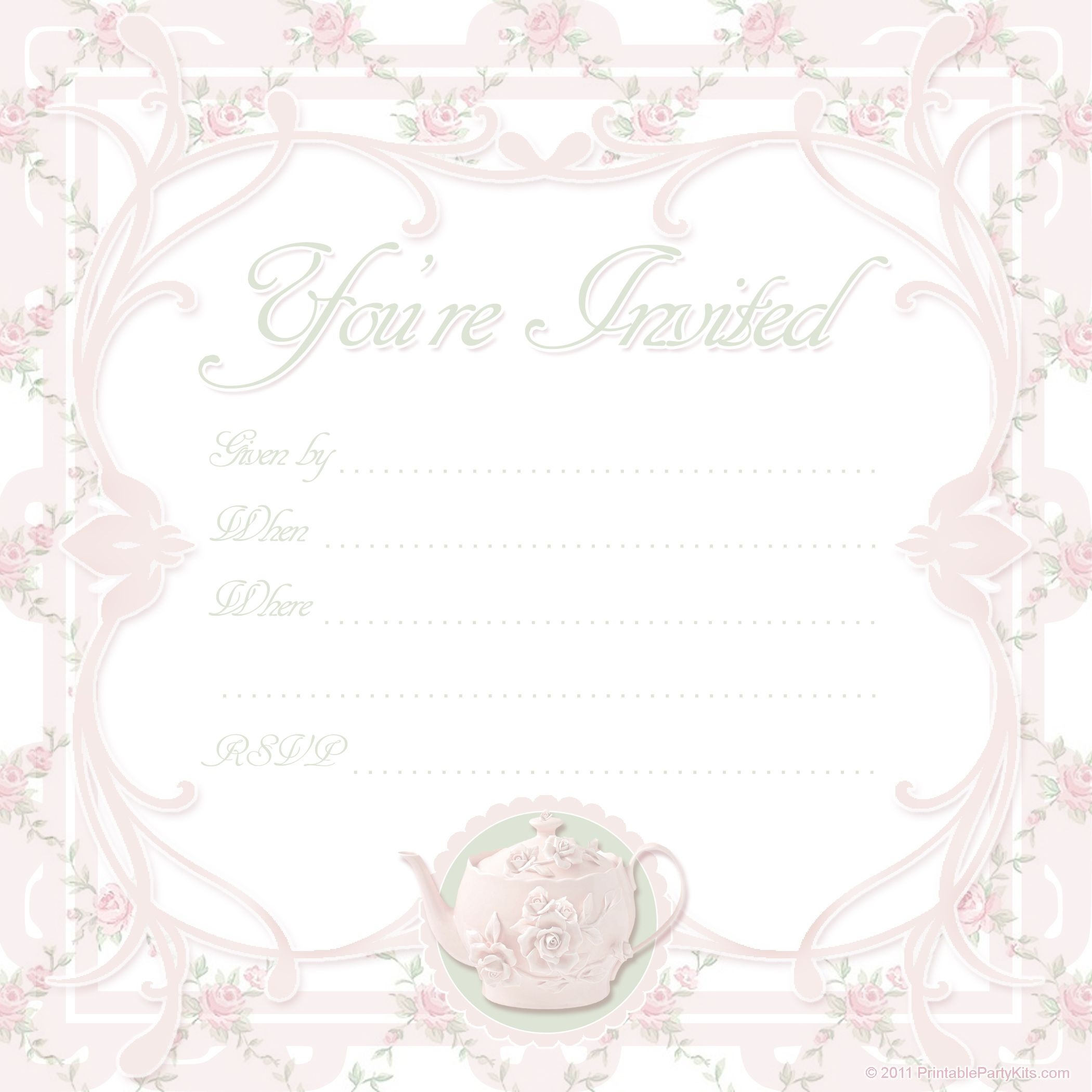 Vintage Tea Party Invitations | Free Printable Tea Party Invite - Free Printable Kitchen Tea Invitation Templates
