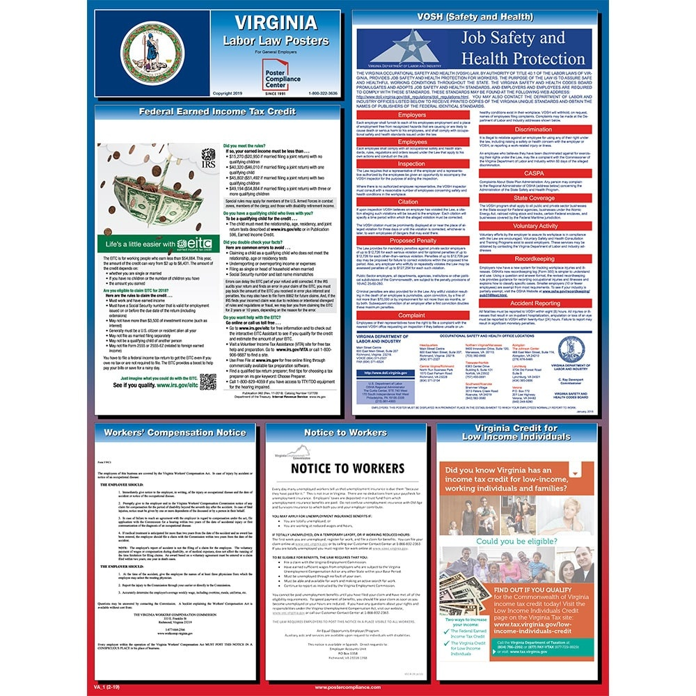 Virginia Labor Law Posters For 2019 | Poster Compliance Center - Free Printable Osha Safety Posters