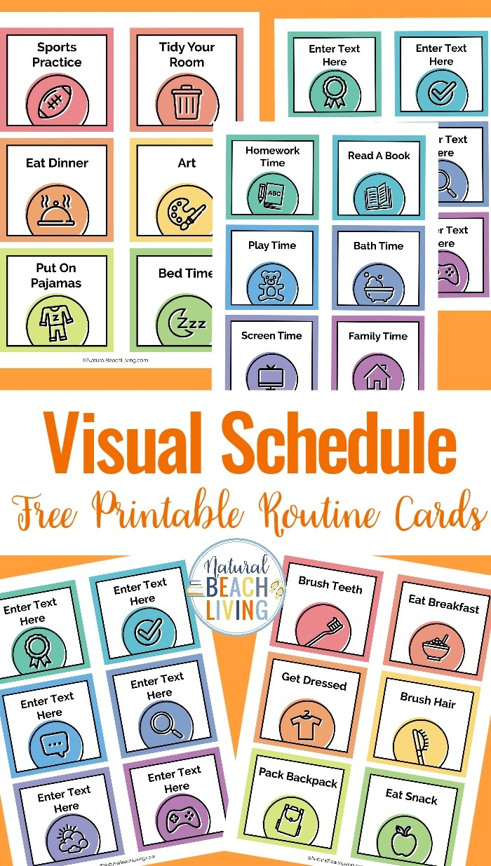 Visual Schedule - Free Printable Routine Cards - Natural Beach Living - Autism Picture Cards Free Printable