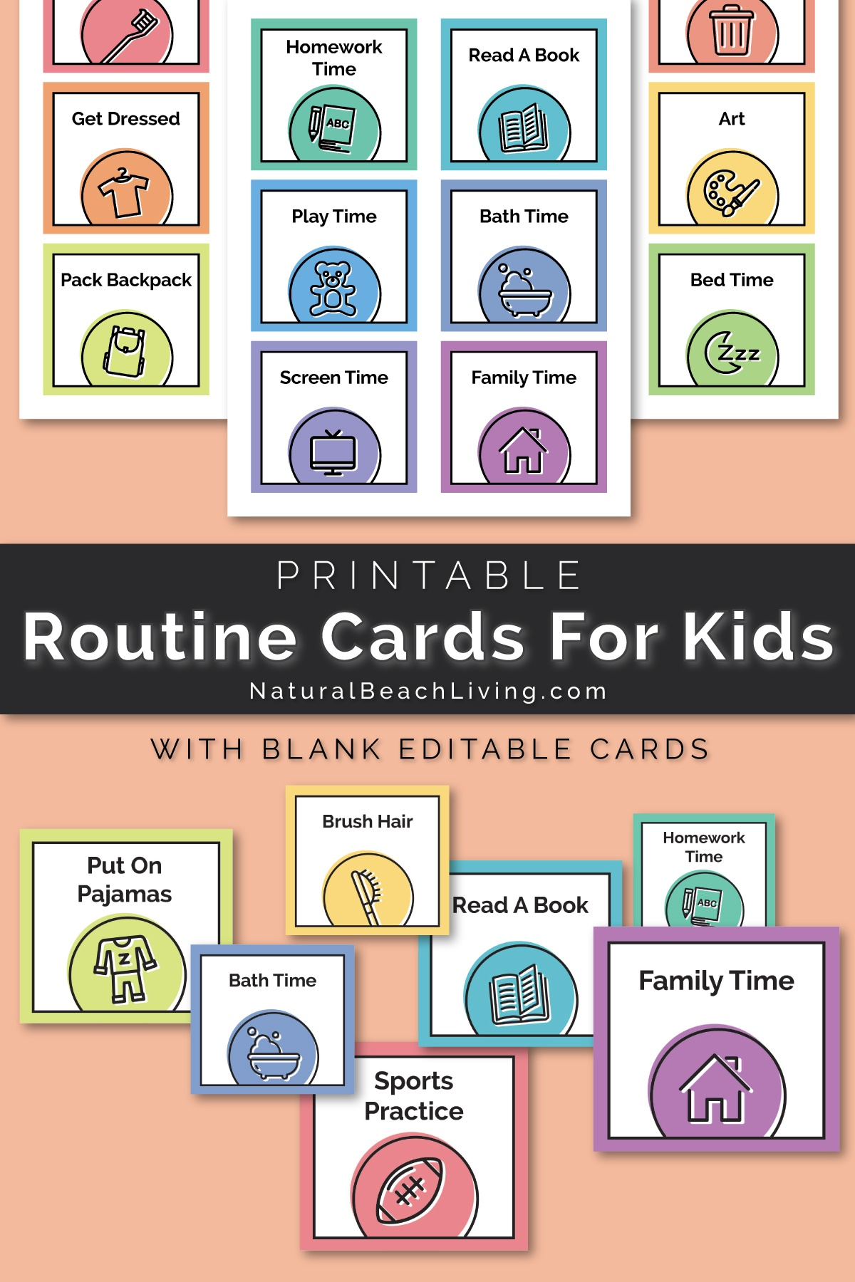 Visual Schedule - Free Printable Routine Cards - Natural Beach Living - Routine Cards Printable Free