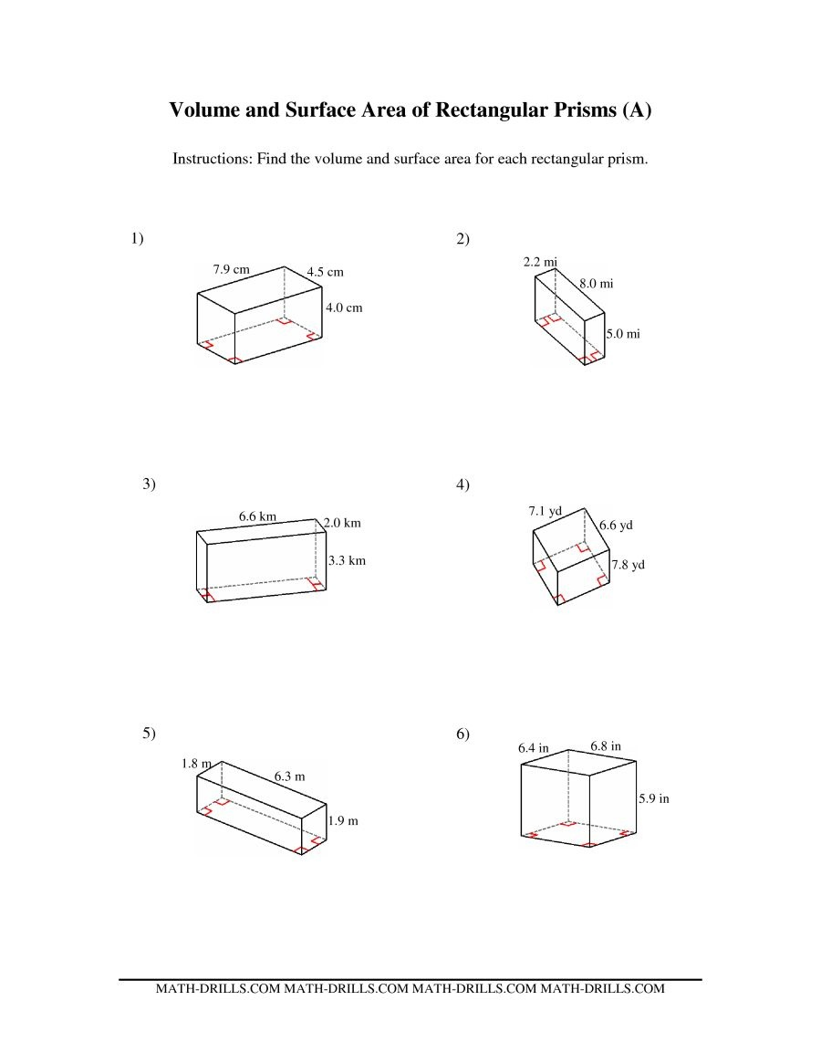 Volume And Surface Area Of Rectangular Prisms (A) - Free Printable Volume Of Rectangular Prism Worksheets