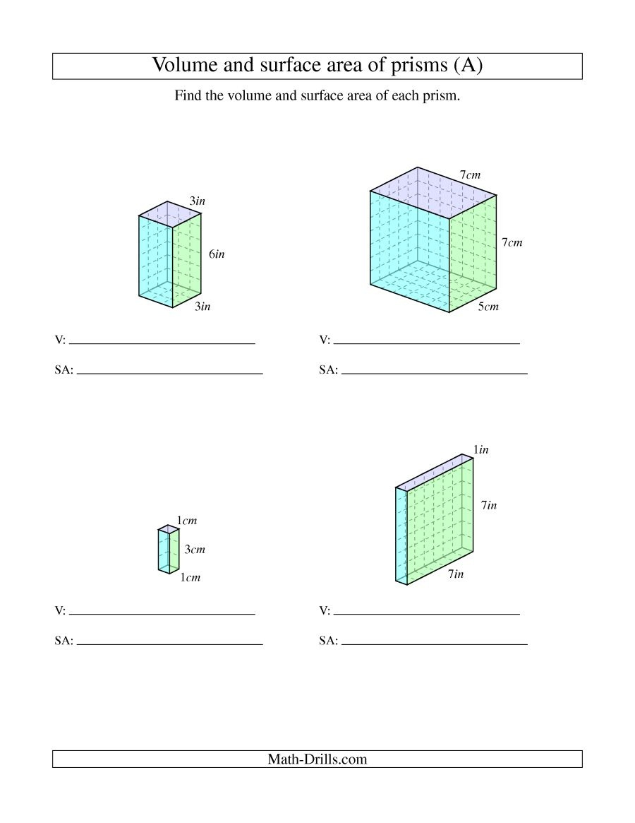 Volume And Surface Area Of Rectangular Prisms With Whole Numbers (A) - Free Printable Volume Of Rectangular Prism Worksheets