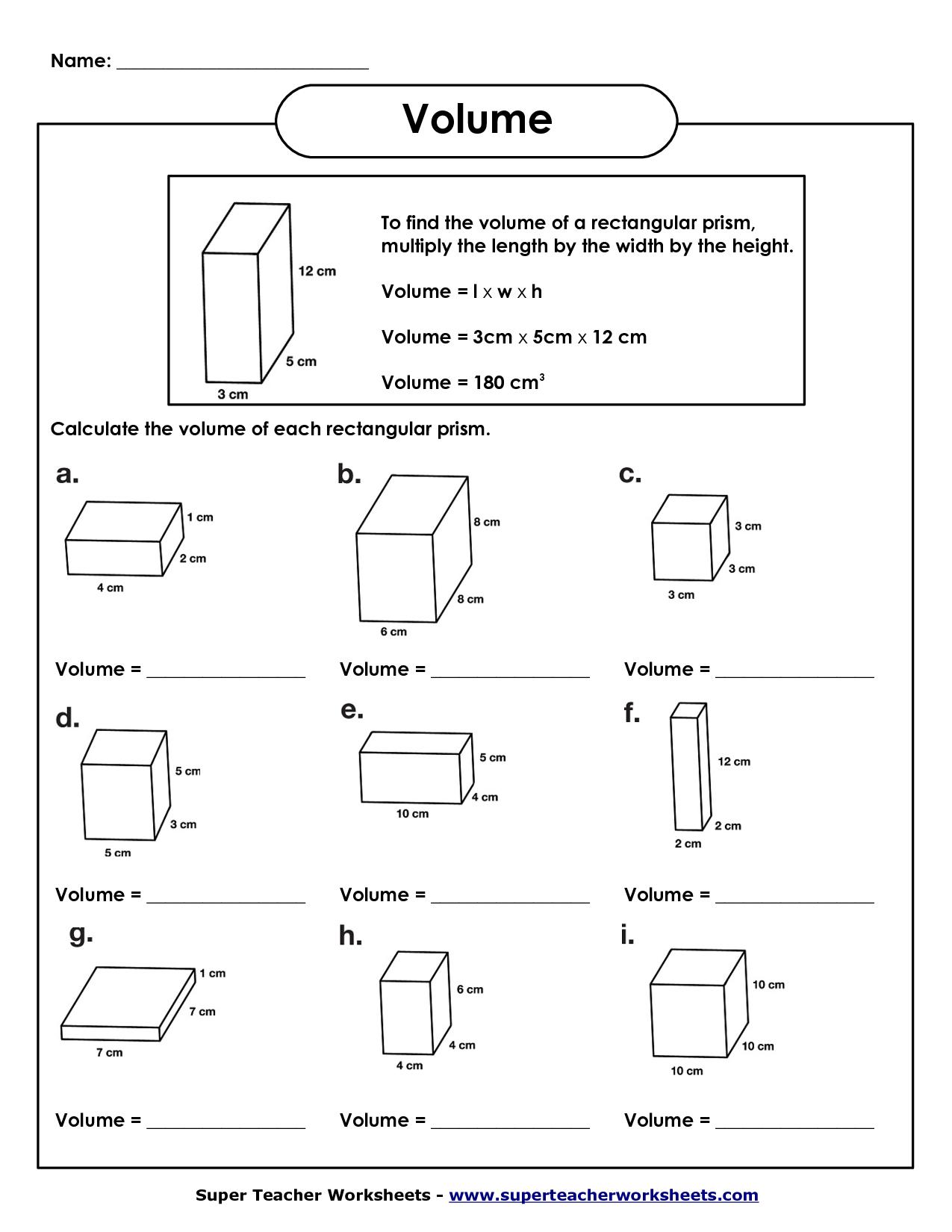 Volume Of Rectangular Prism Worksheet | Volume Worksheets | Math - Free Printable Volume Of Rectangular Prism Worksheets