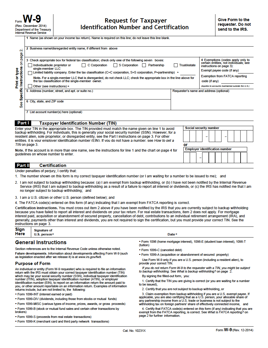 W-9 Request For Taxpayer Identification Number And Certification Pdf - Free Printable W9