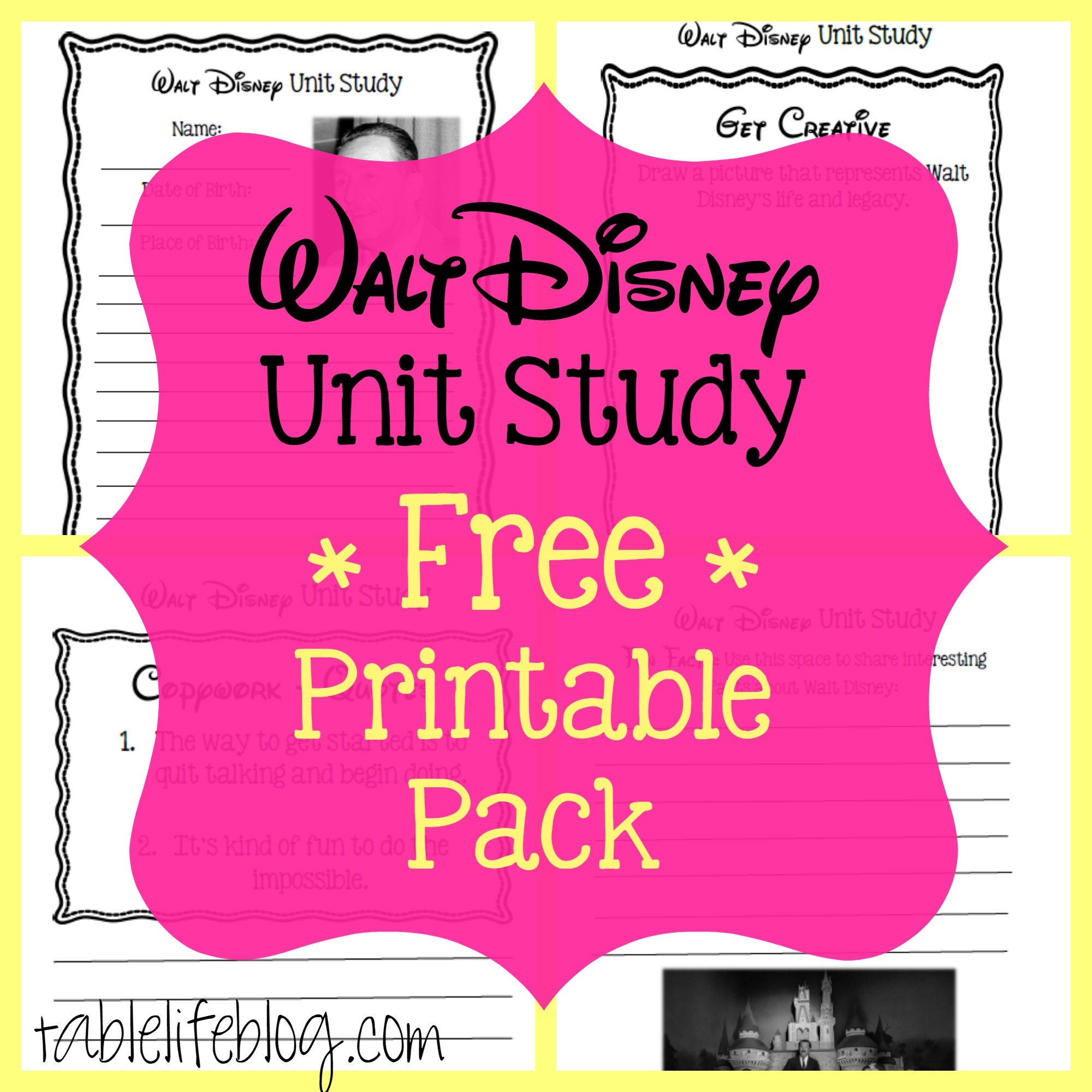 Walt Disney Unit Study (With Free Printable!) • Tablelifeblog - Free Printable Disney Stories