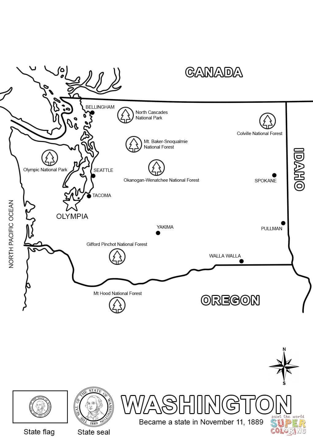 Washington State Map Coloring Page | Free Printable Coloring Pages - Free Printable Map Of Washington State