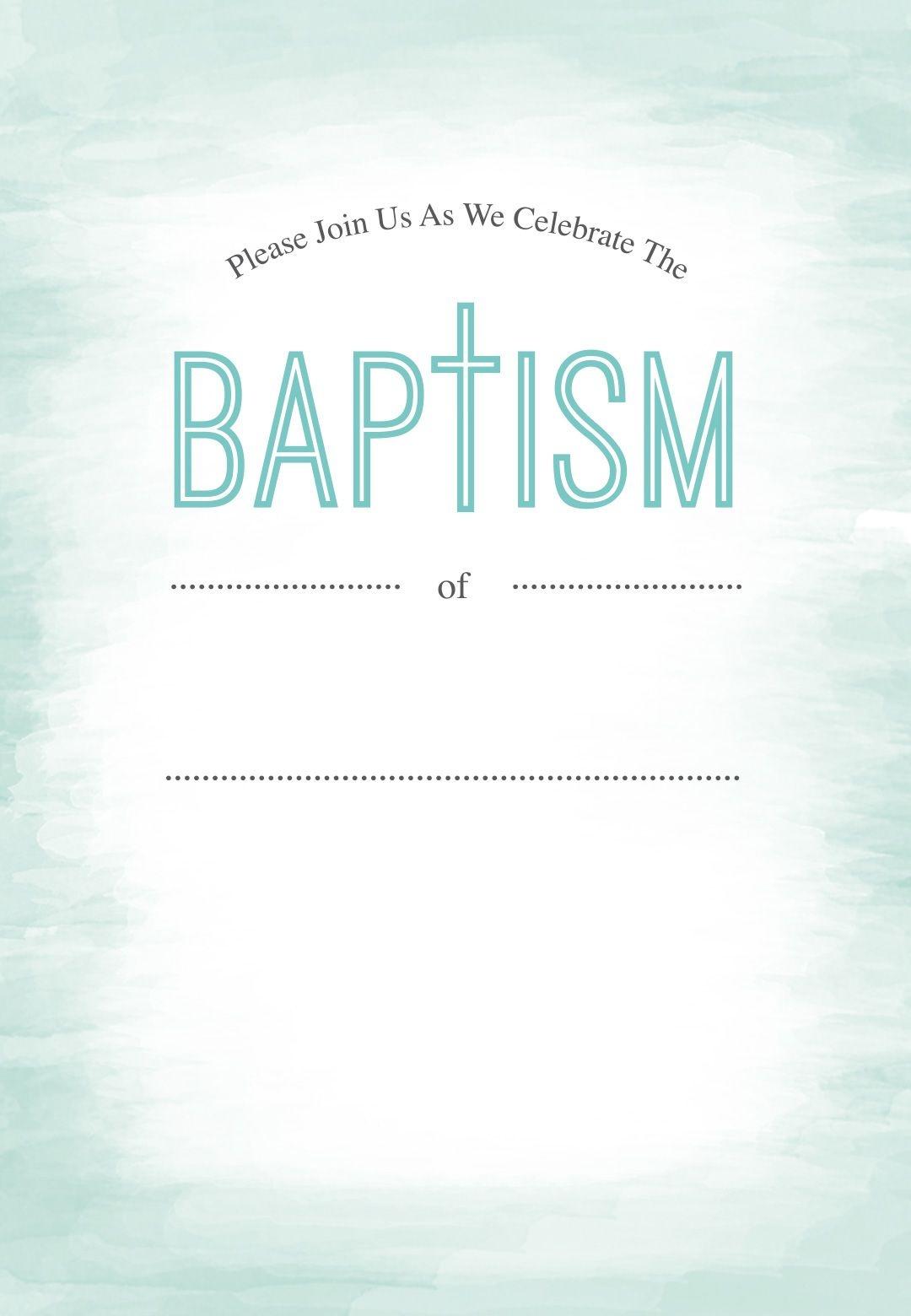Water - Free Printable Baptism & Christening Invitation Template - Free Printable Baptism Greeting Cards