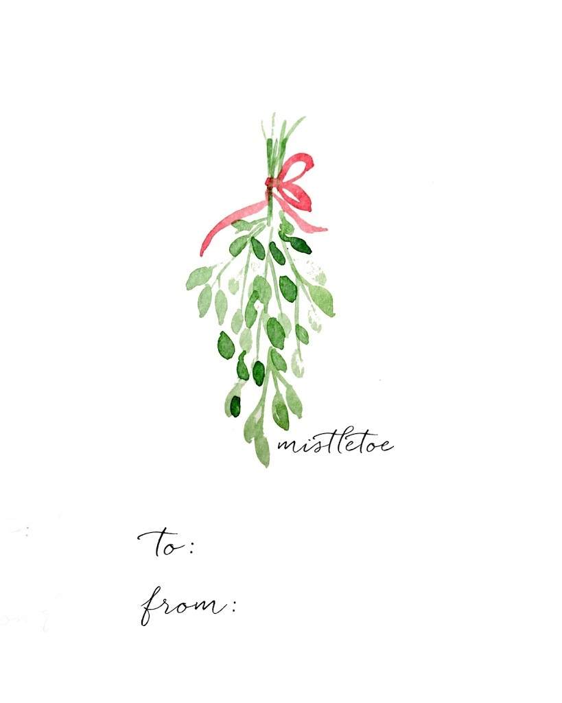 Watercolor Christmas Gift Tag Diy And Free Printables - Free Printable Mistletoe Tags