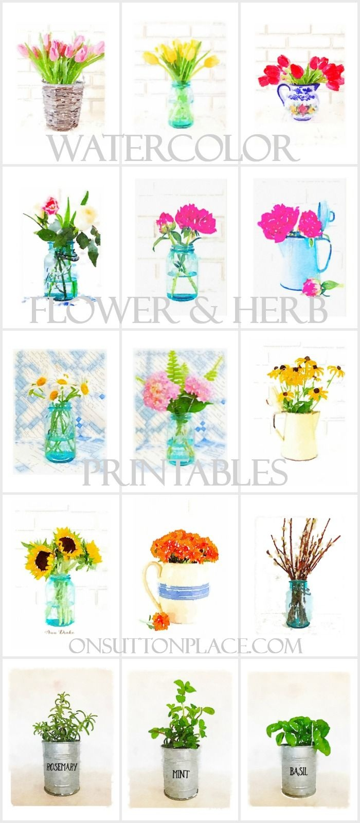 Watercolor Printable Series Flowers & Herbs | On Sutton Place - Free Watercolor Printables