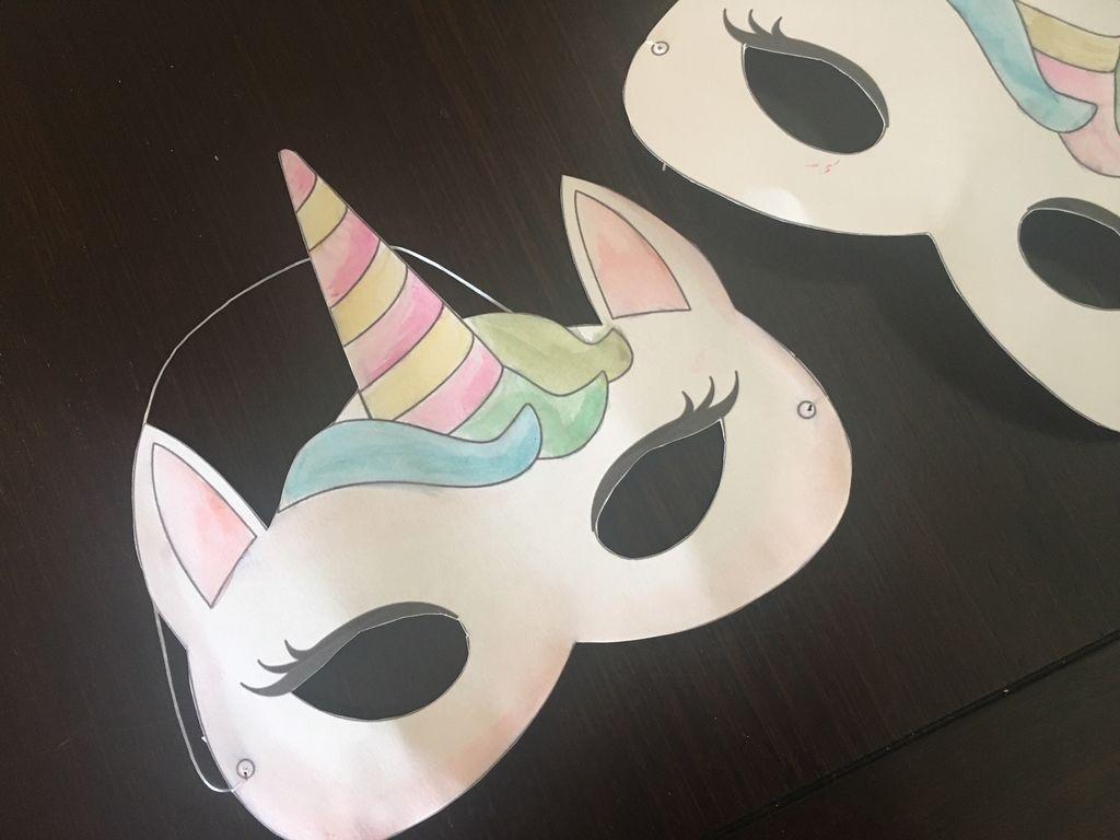 Watercolor Unicorn Mask + Free Printable: 4 Steps - Free Printable Paper Masks