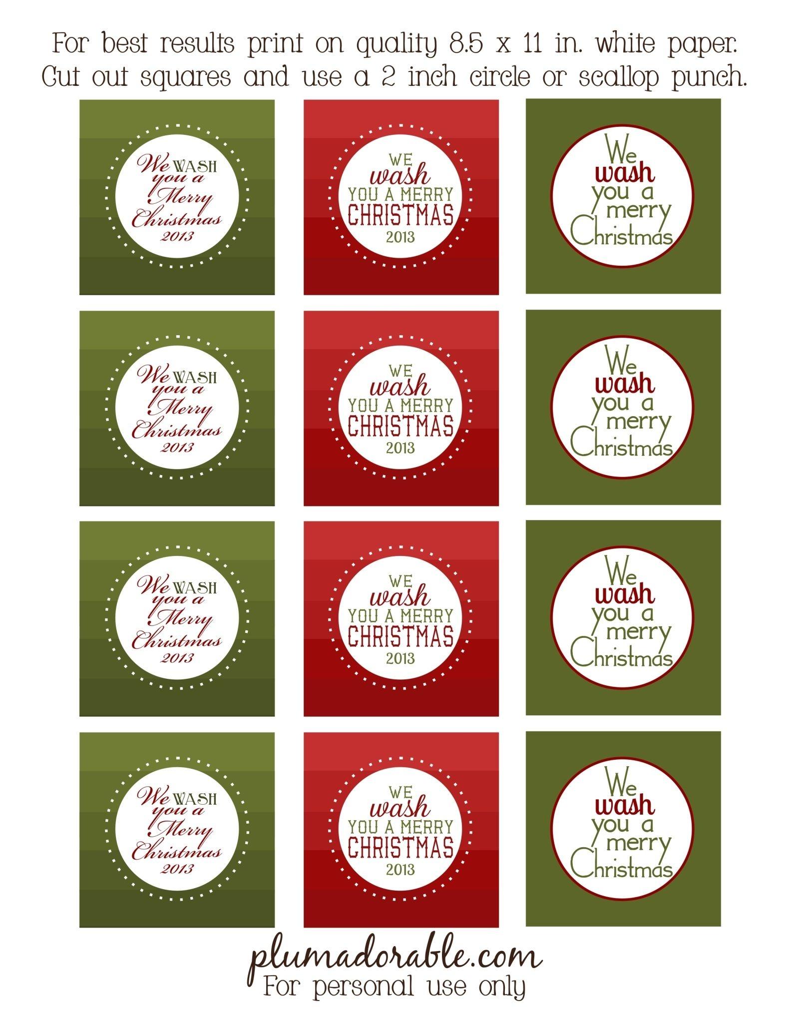 We Wash You A Merry Christmas - Free Printable Tags | Christmas - Free Printable Toe Tags