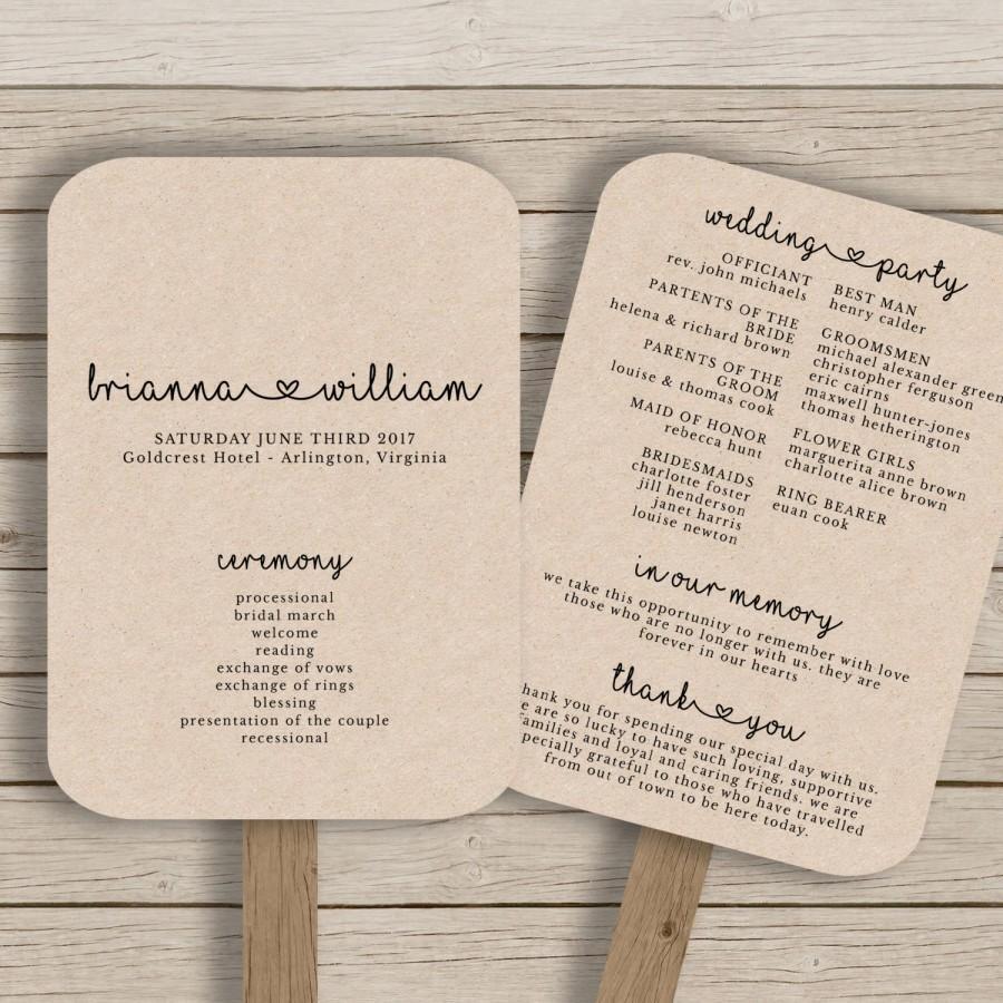 Wedding Fan Program Template - Rustic Wedding Fan Printable - You - Free Printable Fan Wedding Programs