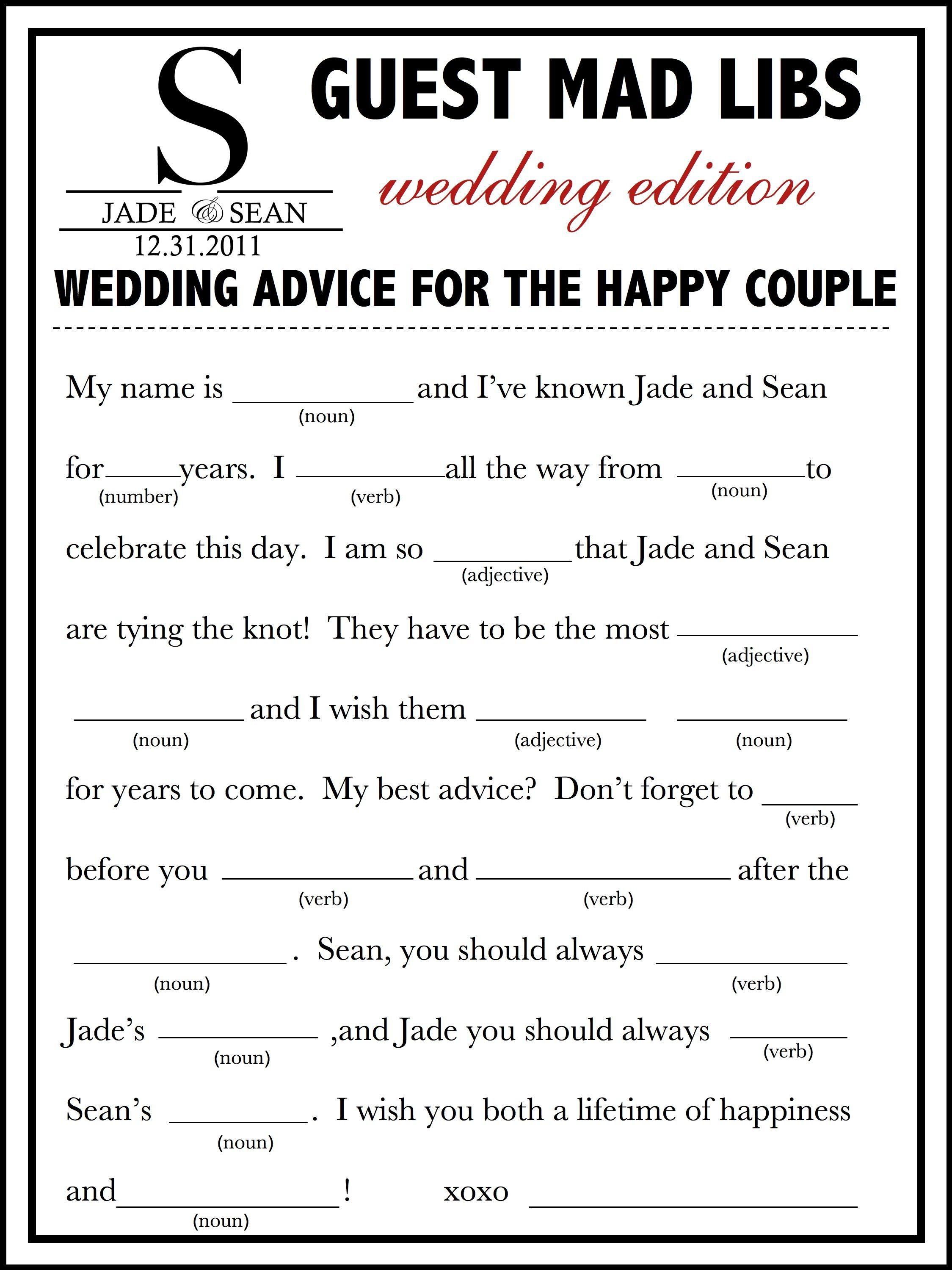 Wedding Mad Libs Template Free   Fun Unique Guest Book Alternative - Free Printable Wedding Mad Libs