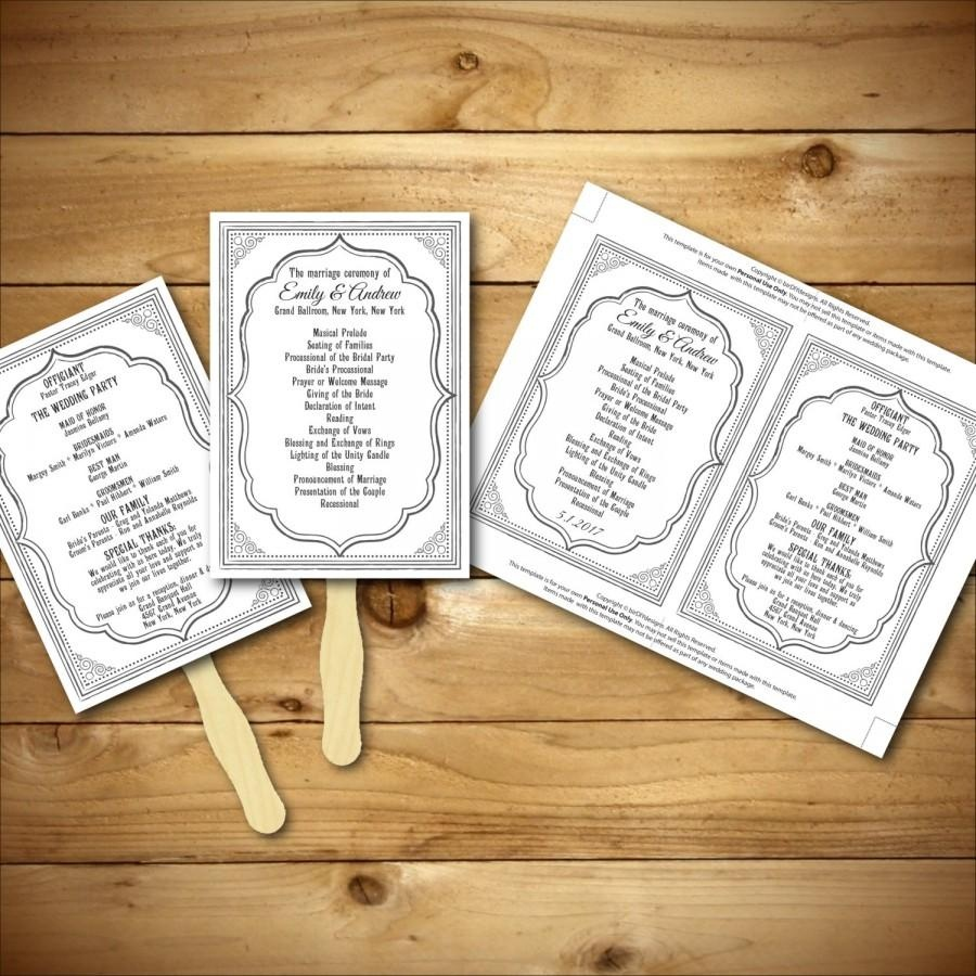 Wedding Program Template - Printable Wedding Program - Diy Wedding - Free Printable Wedding Fan Templates