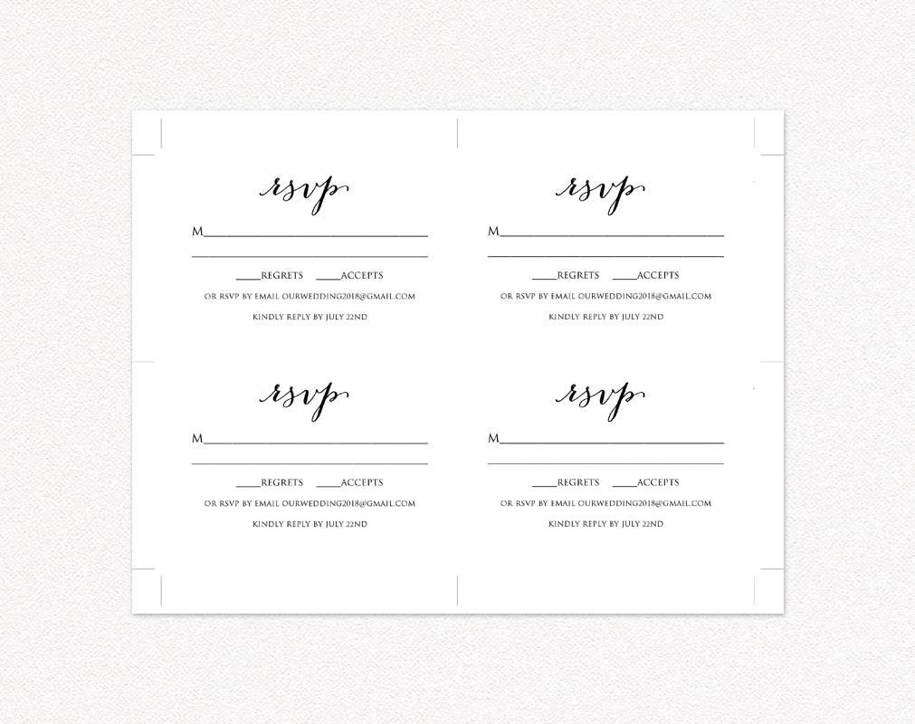 Wedding Rsvp Card Template · Wedding Templates And Printables - Free Printable Rsvp Cards