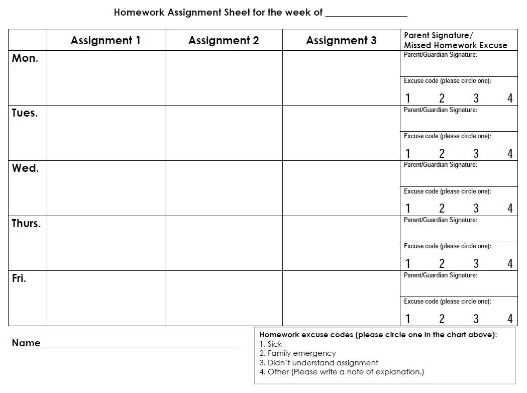 Weekly Homework Planner Sheet – College Students Essay - Free Printable Daily Assignment Sheets