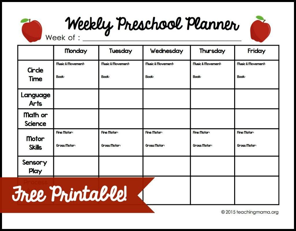 Weekly Preschool Planner {Free Printable} - Free Printable Preschool Teacher Resources