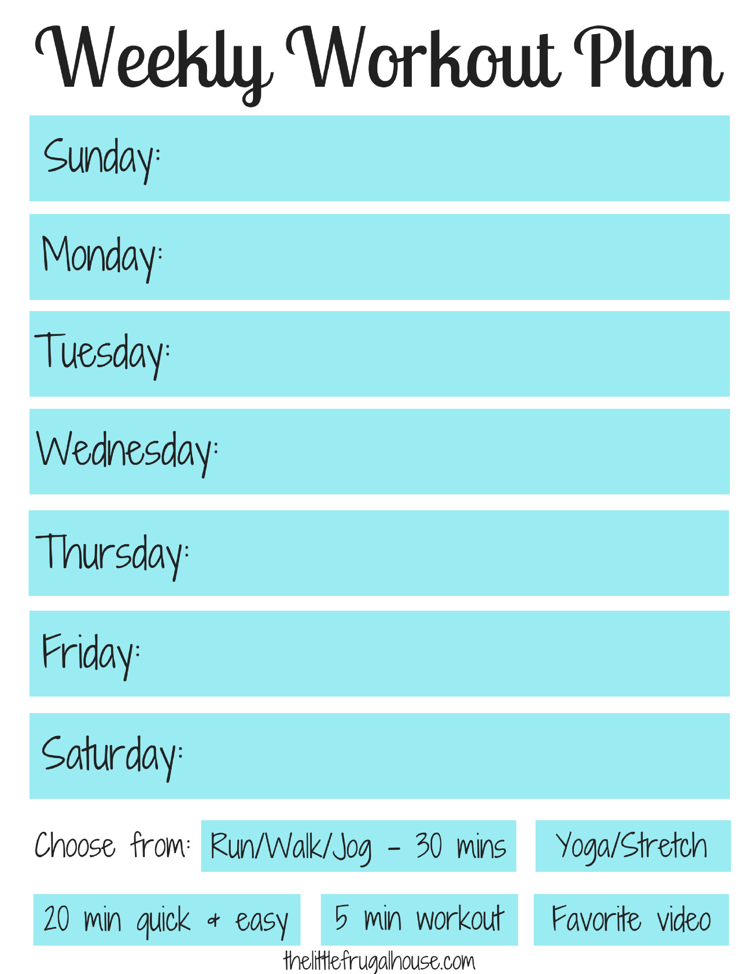 Weekly Workout Plan - Free Workout Planner Printable - The Little - Free Printable Workout Plans