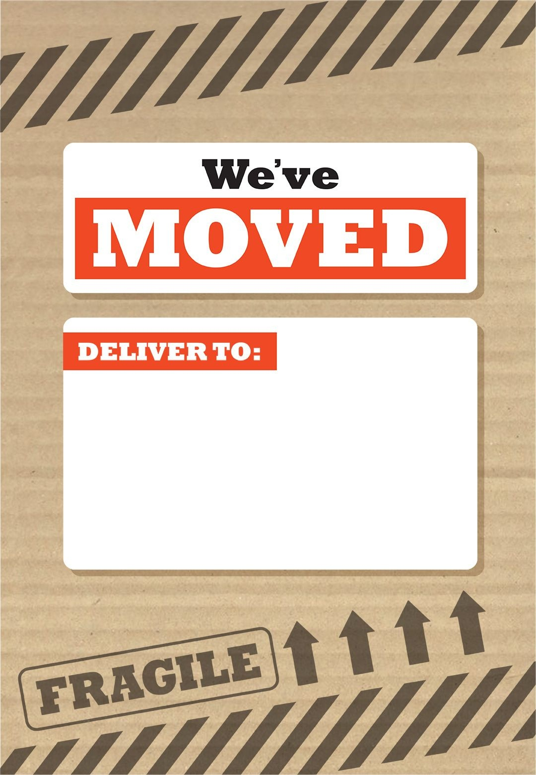 We've Moved Box - Free Printable Moving Announcement Template - We Re Moving Cards Free Printable