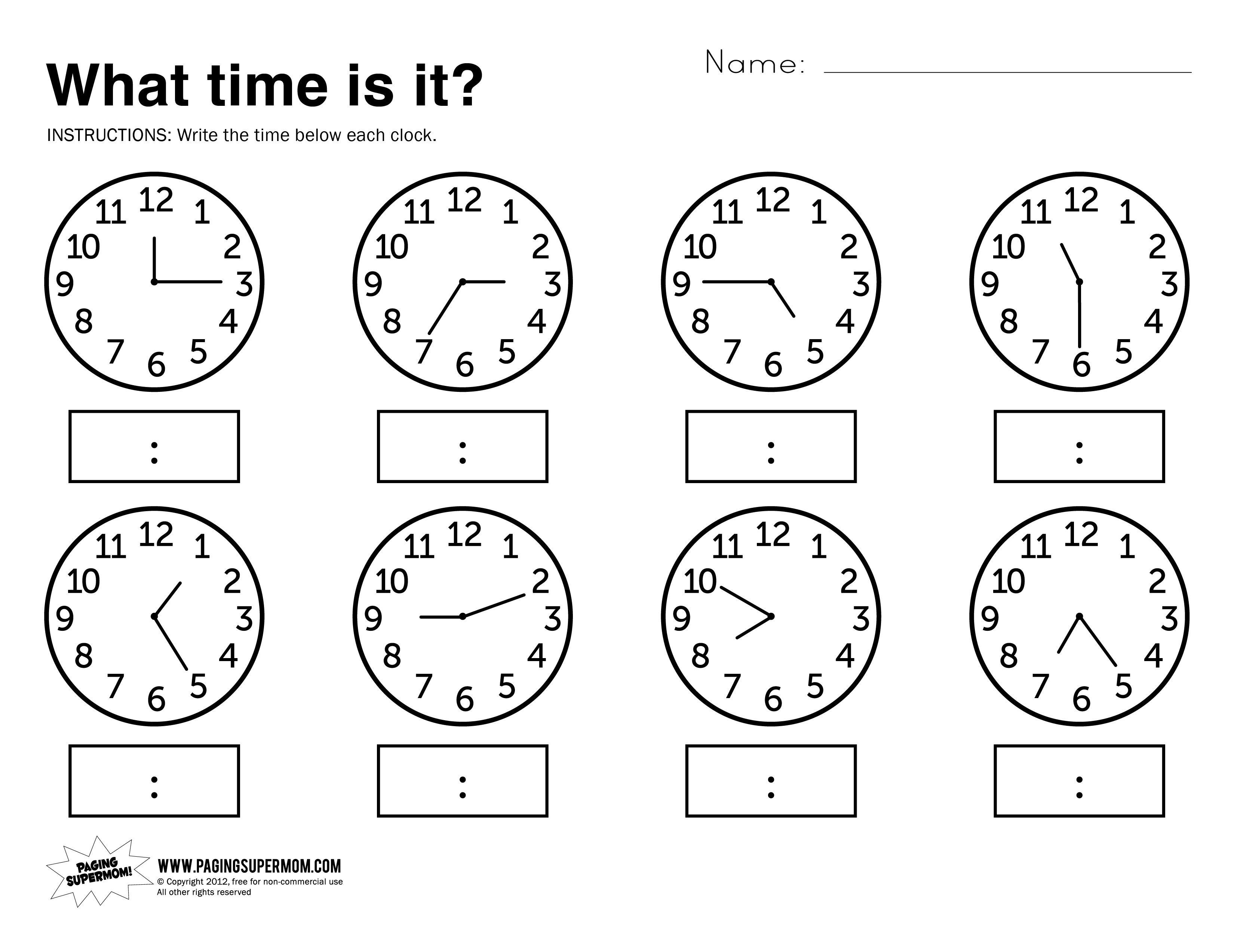 What Time Is It Printable Worksheet | Kolbie | Kindergarten - Free Printable Time Worksheets For Kindergarten
